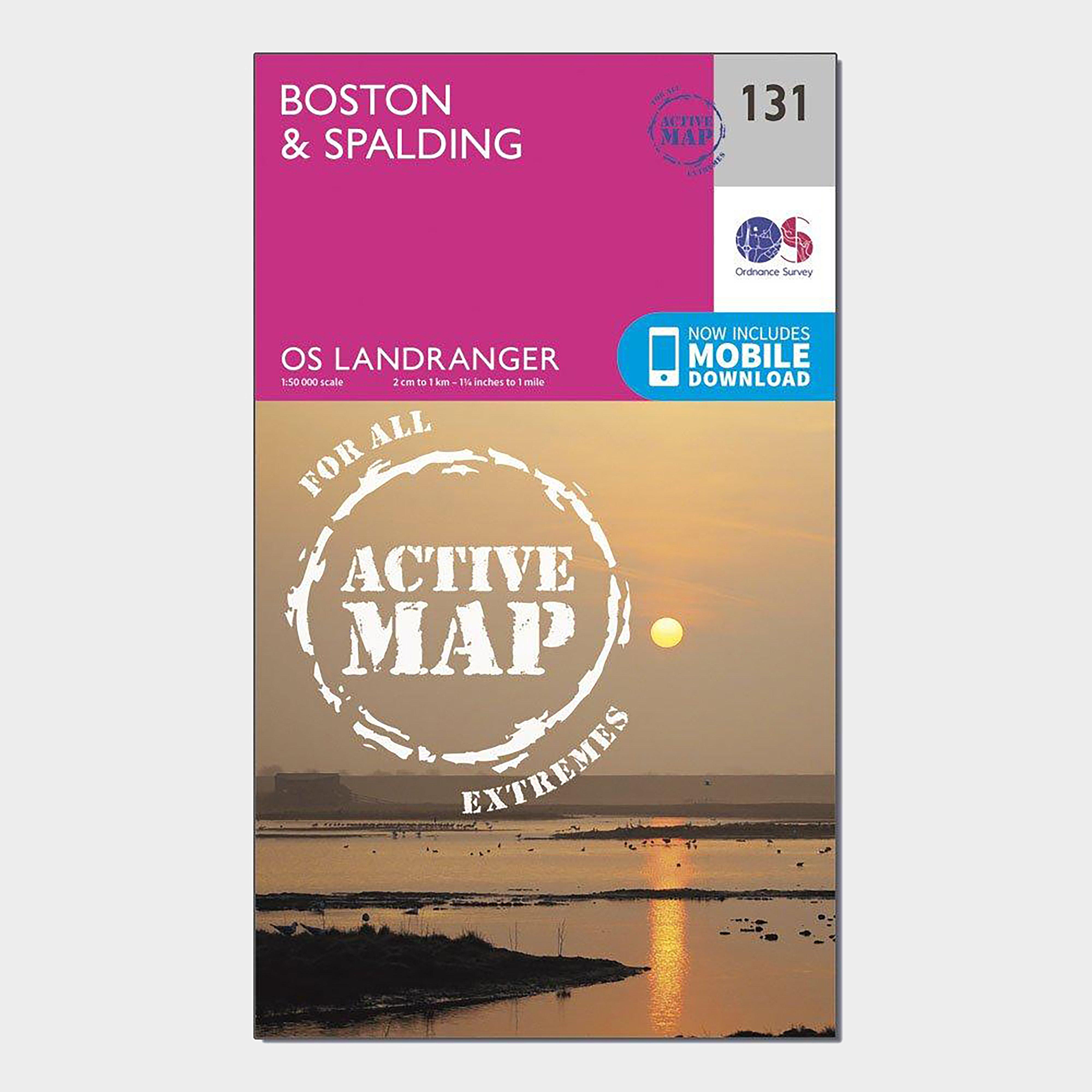 Ordnance Survey Landranger Active 131 BostonandSpalding Map With Digital Version - Pink/d  Pink/d
