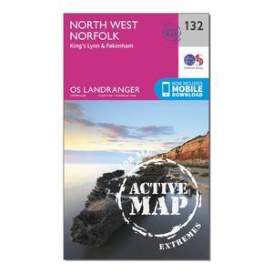 ORDNANCE SURVEY Landranger Active 132 North West Norfolk, King's Lynn & Fakenham Map With Digital Version