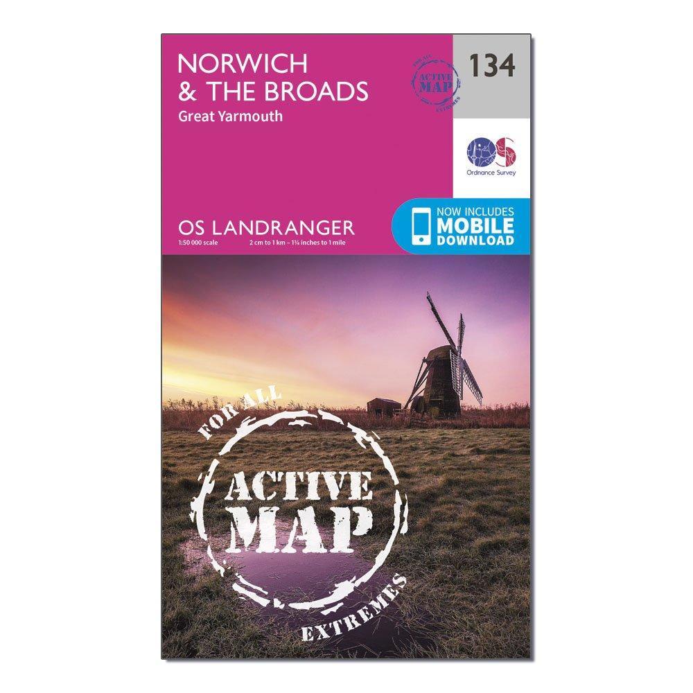 Ordnance Survey Landranger Active 134 NorwichandThe Broads  Great Yarmouth Map With Digital Version - Pink/d  Pink/d