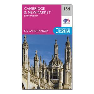 ORDNANCE SURVEY Landranger 154 Cambridge & Newmarket, Saffron Walden Map With Digital Version