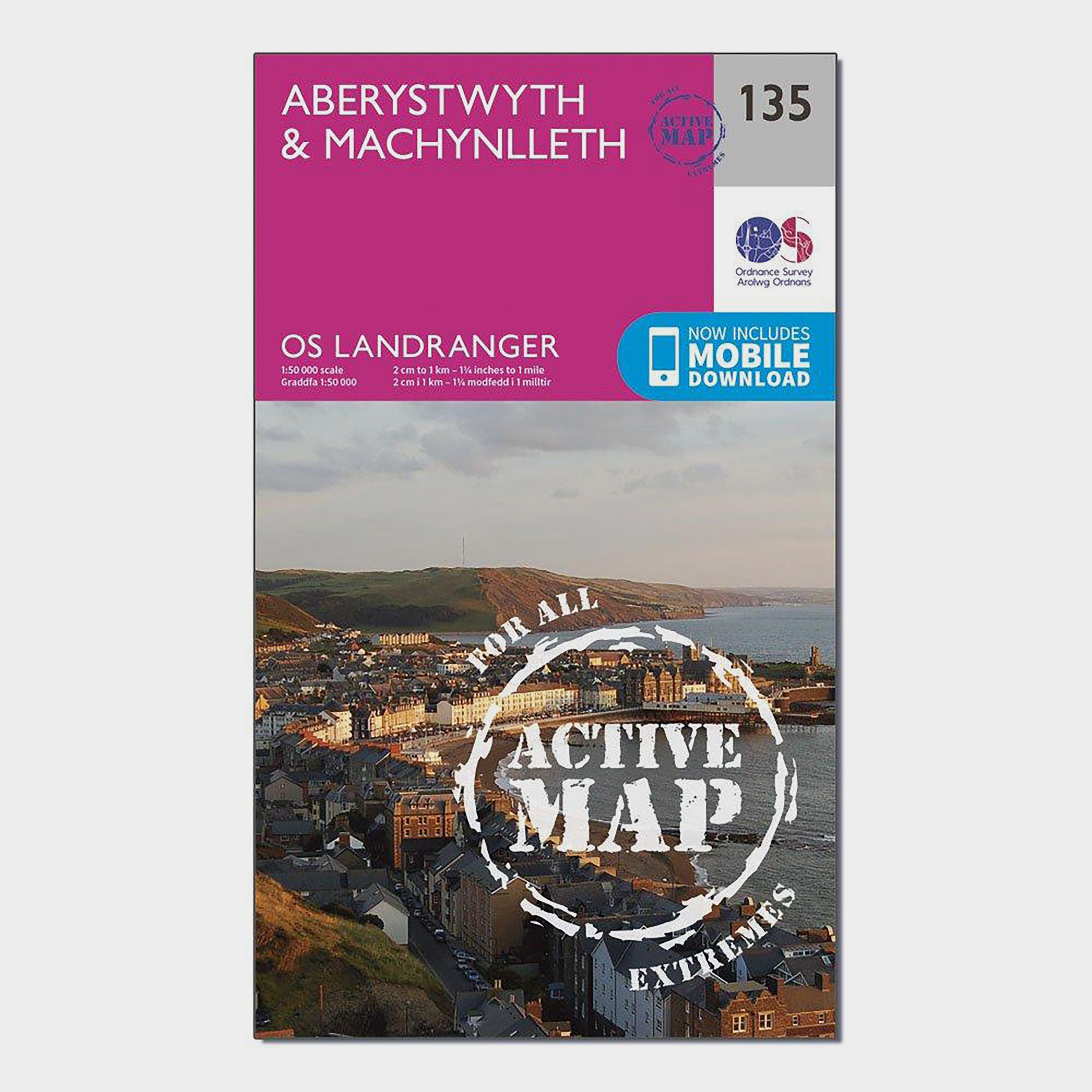 Ordnance Survey Landranger Active 135 AberystwythandMachynlleth Map With Digital Version - Pink/d  Pink/d
