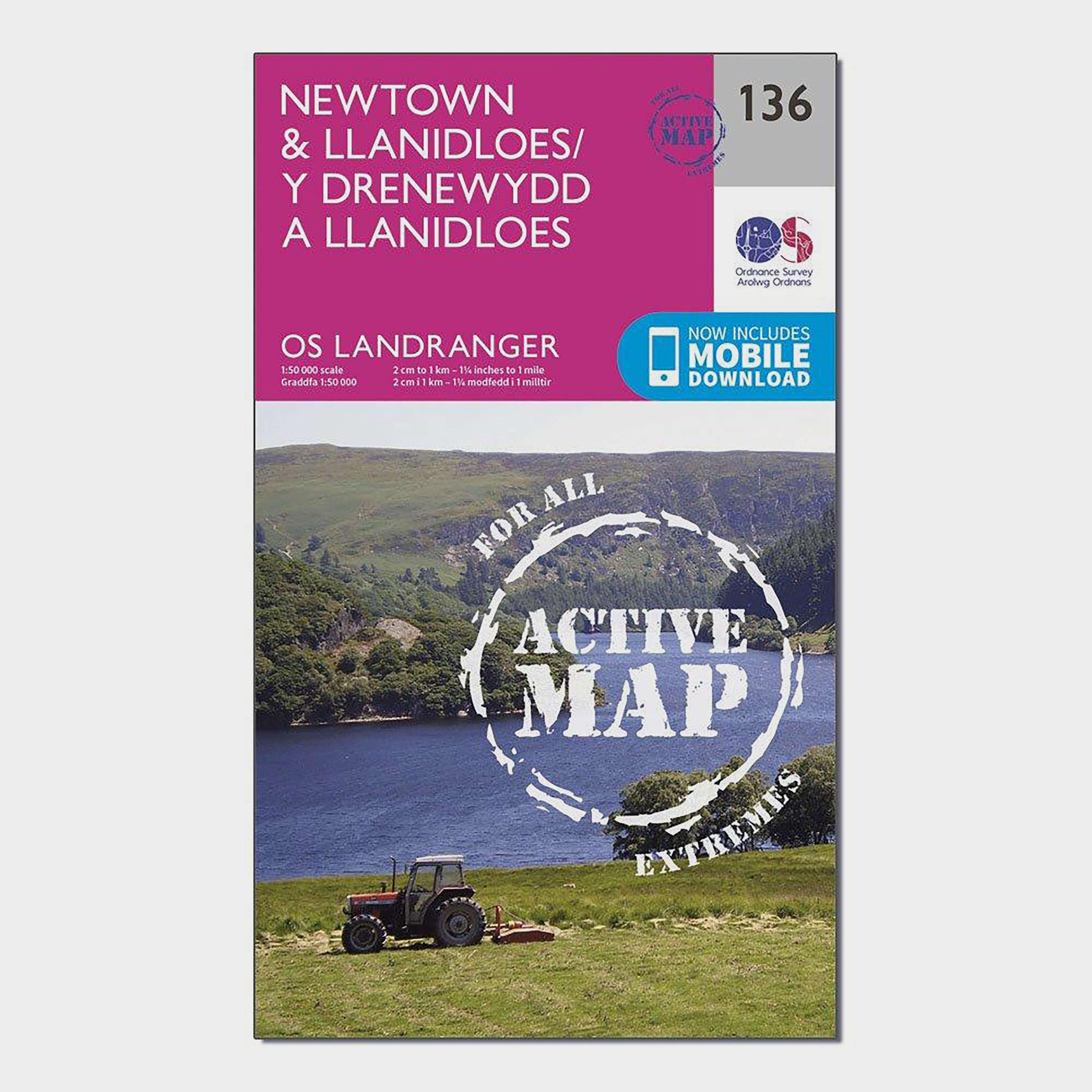 ORDNANCE SURVEY Landranger Active 136 Newtown & Llanidloes Map With Digital Version