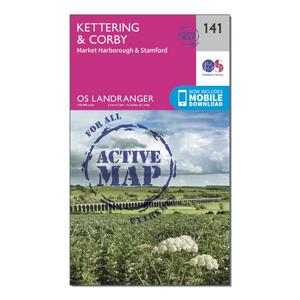 ORDNANCE SURVEY Landranger Active 141 Kettering & Corby Map With Digital Version