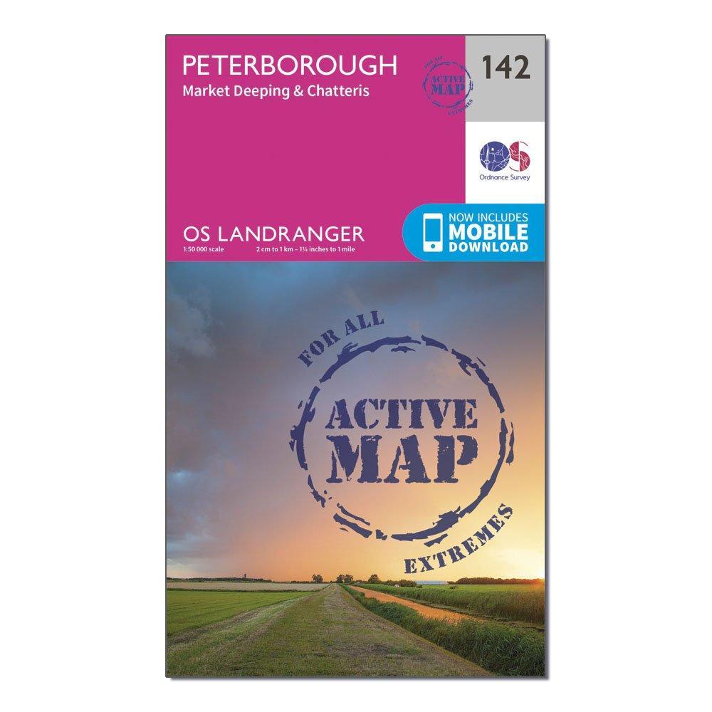 Ordnance Survey Landranger Active 142 Peterborough  Market DeepingandChatteris Map With Digital Version - Pink/d  Pink/d