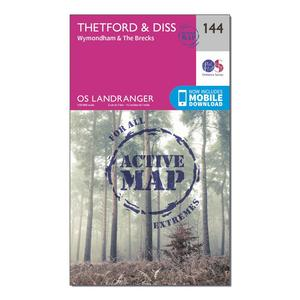 ORDNANCE SURVEY Landranger Active 144 Thetford & Diss, Breckland & Wymondham Map With Digital Version