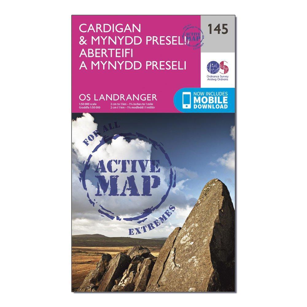 Ordnance Survey Landranger Active 145 CardiganandMynydd Preseli Map With Digital Version - Pink/d  Pink/d