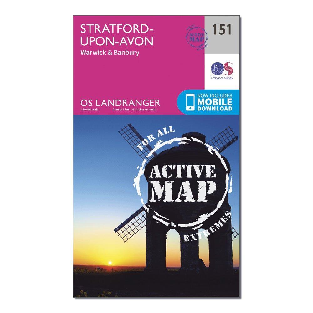 Ordnance Survey Landranger Active 151 Stratford-upon-avon  WarwickandBanbury Map With Digital Version - Pink/d  Pink/d