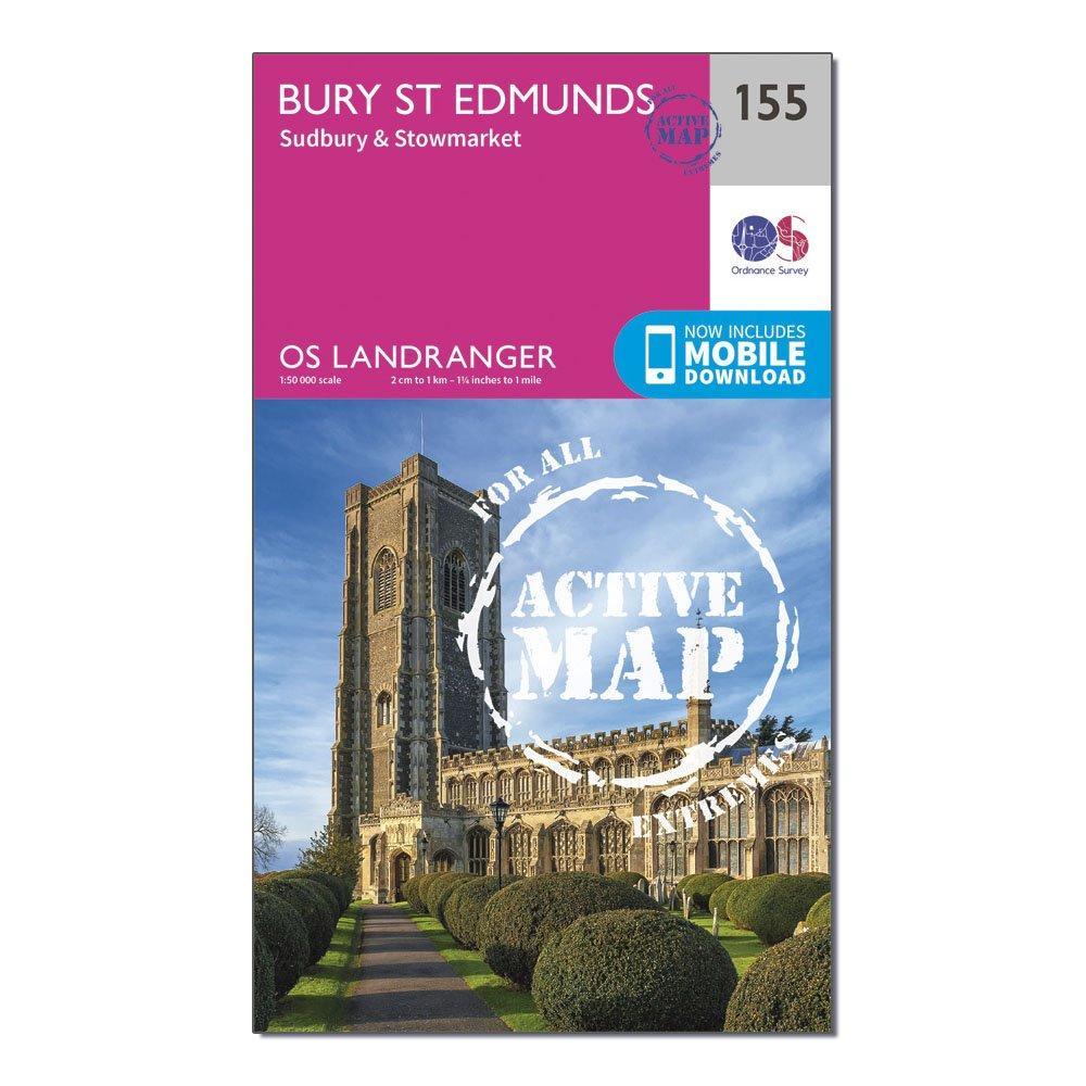 Ordnance Survey Landranger Active 155 Bury St Edmunds  SudburyandStowmarket Map With Digital Version - Pink/d  Pink/d