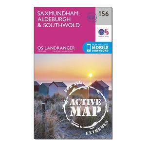 ORDNANCE SURVEY Landranger Active 156 Saxmundham, Aldeburgh & Southwold Map With Digital Version