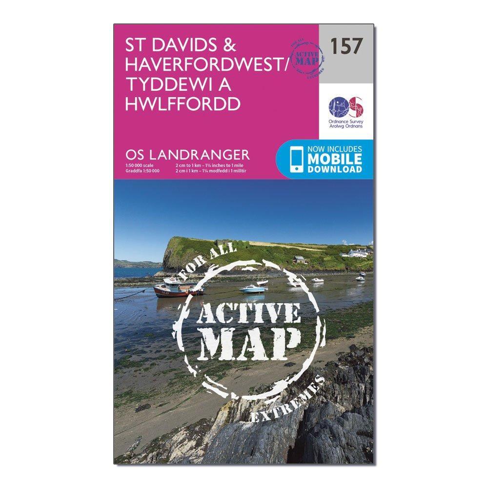 Ordnance Survey Landranger Active 157 St DavidsandHaverfordwest Map With Digital Version - Pink/d  Pink/d