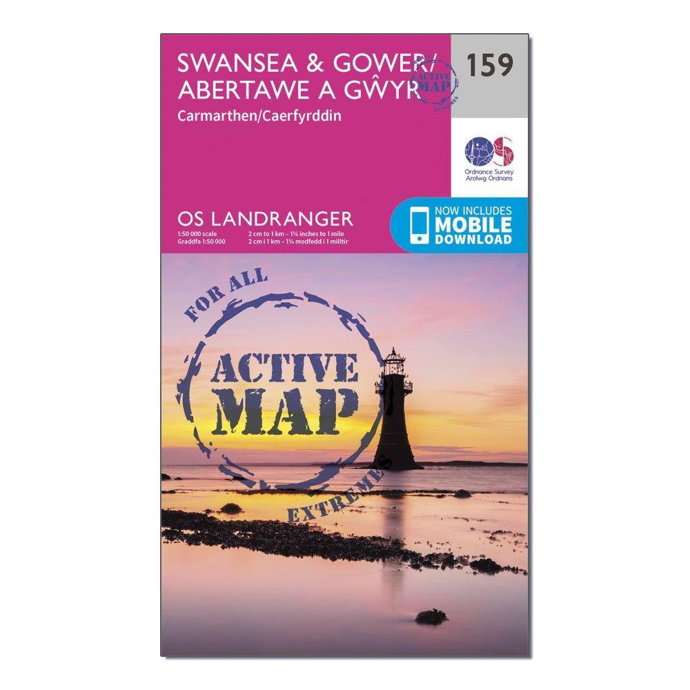 Ordnance Survey Landranger Active 159 SwanseaandGower  Carmarthen Map With Digital Version - Pink/d  Pink/d