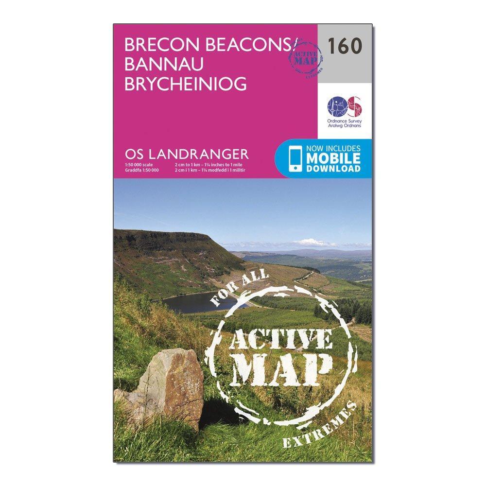 Ordnance Survey Landranger Active 160 Brecon Beacons Map With Digital Version - Pink/d  Pink/d