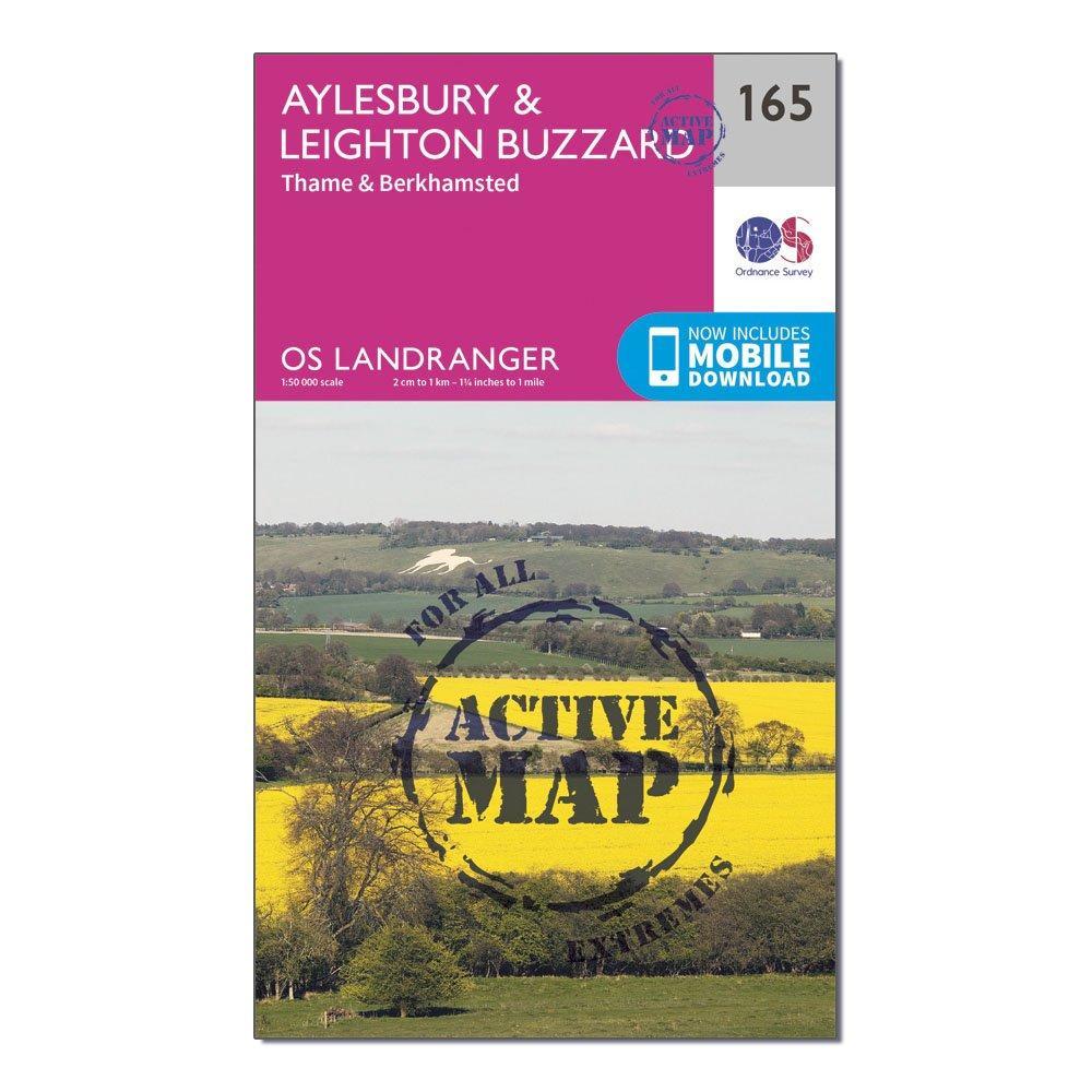 Ordnance Survey Landranger Active 165 Aylesbury  Leighton Buzard  ThameandBerkhamstead Map With Digital Version - Pink/d  Pink/d
