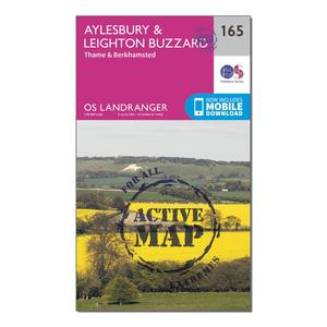 ORDNANCE SURVEY Landranger Active 165 Aylesbury, Leighton Buzzard, Thame & Berkhamstead Map With Digital Version