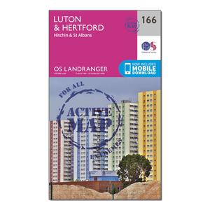 ORDNANCE SURVEY Landranger Active 166 Luton, Hertford, Hitchin & St Albans Map With Digital Version