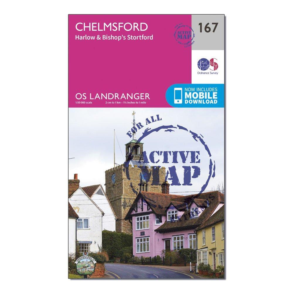 Ordnance Survey Landranger Active 167 Chelmsford  HarlowandBishops Stortford Map With Digital Version - Pink/d  Pink/d