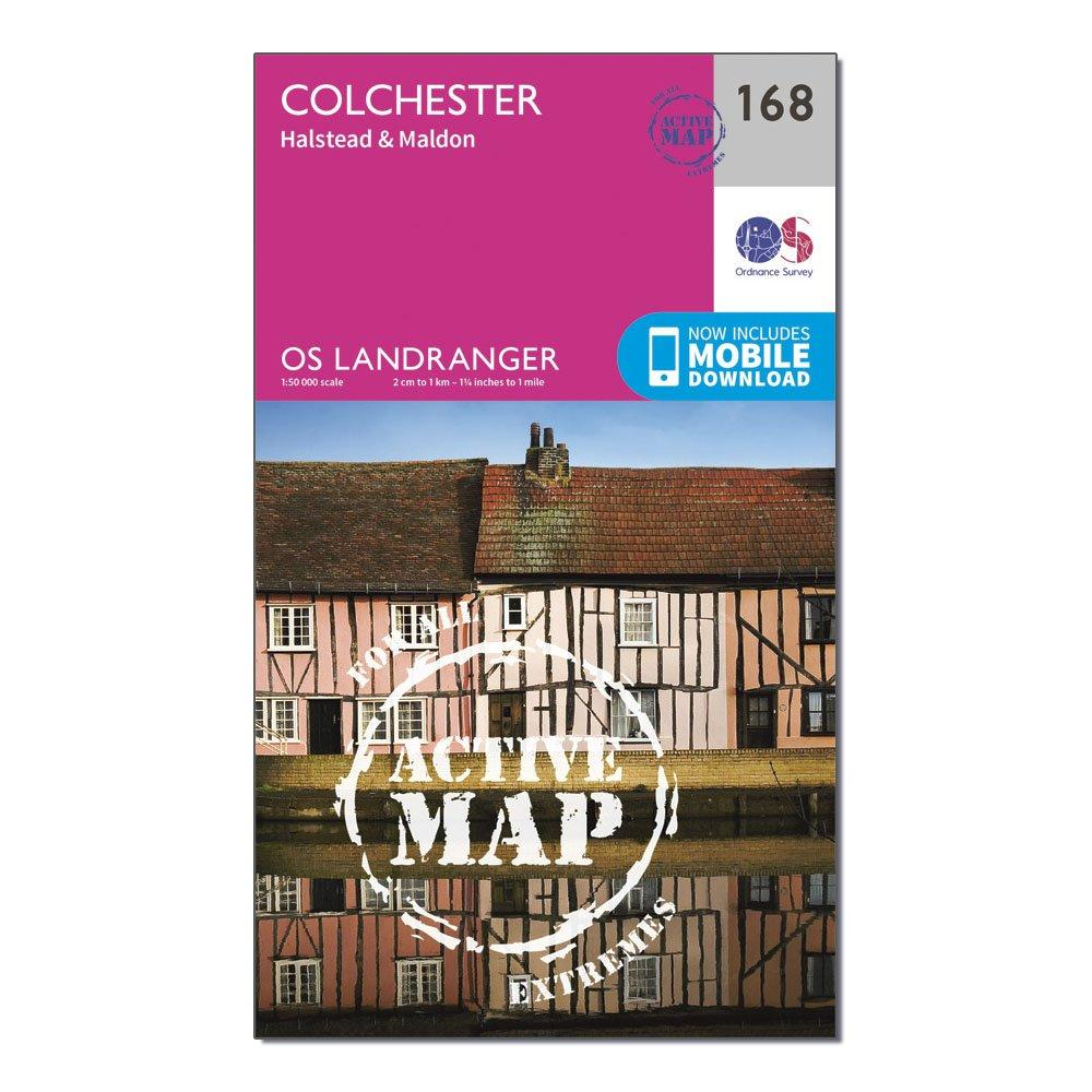 Ordnance Survey Landranger Active 168 Colchester  HalsteadandMaldon Map With Digital Version - Pink/d  Pink/d