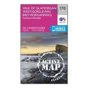 ORDNANCE SURVEY Landranger Active 170 Vale of Glamorgan, Rhondda & Porthcawl Map With Digital Version