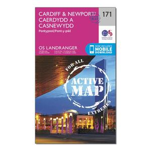 ORDNANCE SURVEY Landranger Active 171 Cardiff & Newport, Pontypool Map With Digital Version