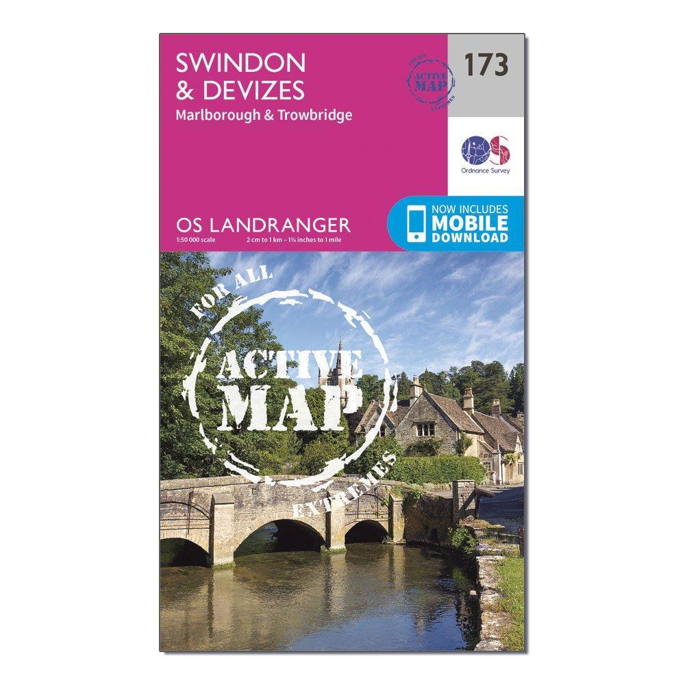 Ordnance Survey Landranger Active 173 Swindon  Devizes  MarlboroughandTrowbridge Map With Digital Version - Pink/d  Pink/d