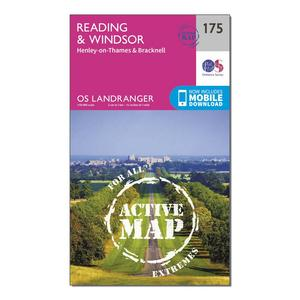 ORDNANCE SURVEY Landranger Active 175 Reading, Windsor, Henley-on-Thames & Bracknell Map With Digital Version
