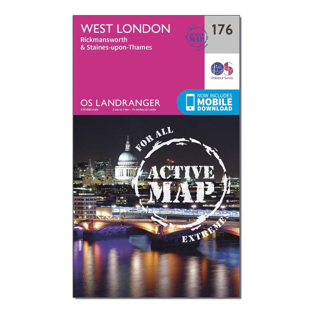 Ordnance Survey Landranger Active 176 West London  RickmansworthandStaines Map With Digital Version - Pink/d  Pink/d