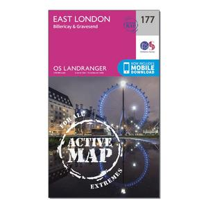 ORDNANCE SURVEY Landranger Active 177 East London, Billericay & Gravesend Map With Digital Version
