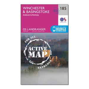 ORDNANCE SURVEY Landranger Active 185 Winchester & Basingstoke, Andover & Romsey Map With Digital Version