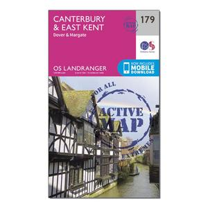 ORDNANCE SURVEY Landranger Active 179 Canterbury & East Kent, Dover & Margate Map With Digital Version
