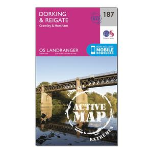 ORDNANCE SURVEY Landranger Active 187 Dorking, Reigate & Crawley Map With Digital Version