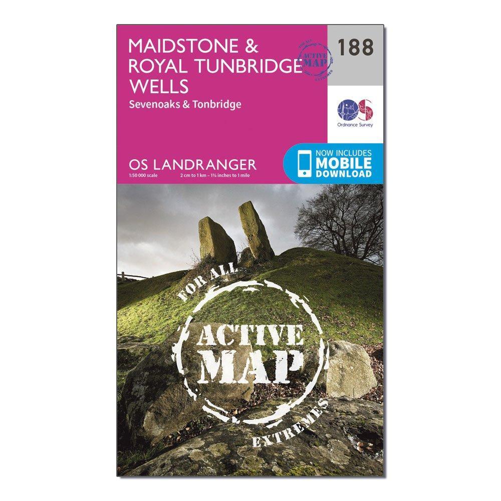 Ordnance Survey Landranger Active 188 MaidstoneandRoyal Tunbridge Wells Map With Digital Version - Pink/d  Pink/d