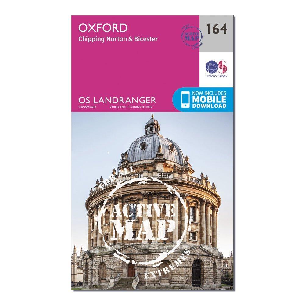 Ordnance Survey Landranger Active 164 Oxford  Chipping NortonandBicester Map With Digital Version - Pink/d  Pink/d
