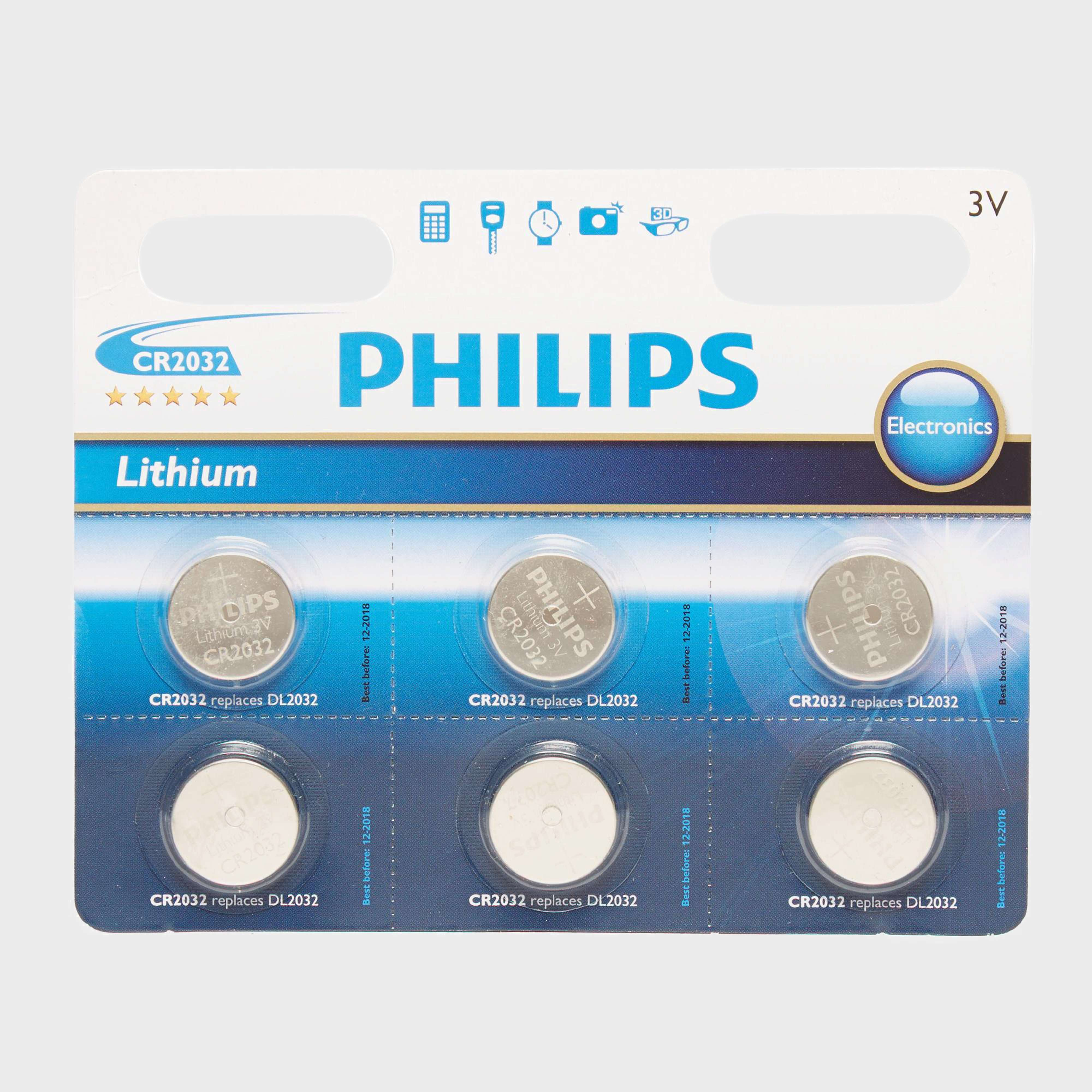 PHILLIPS Lithium Coin Watch Batteries CR2032 6 Pack