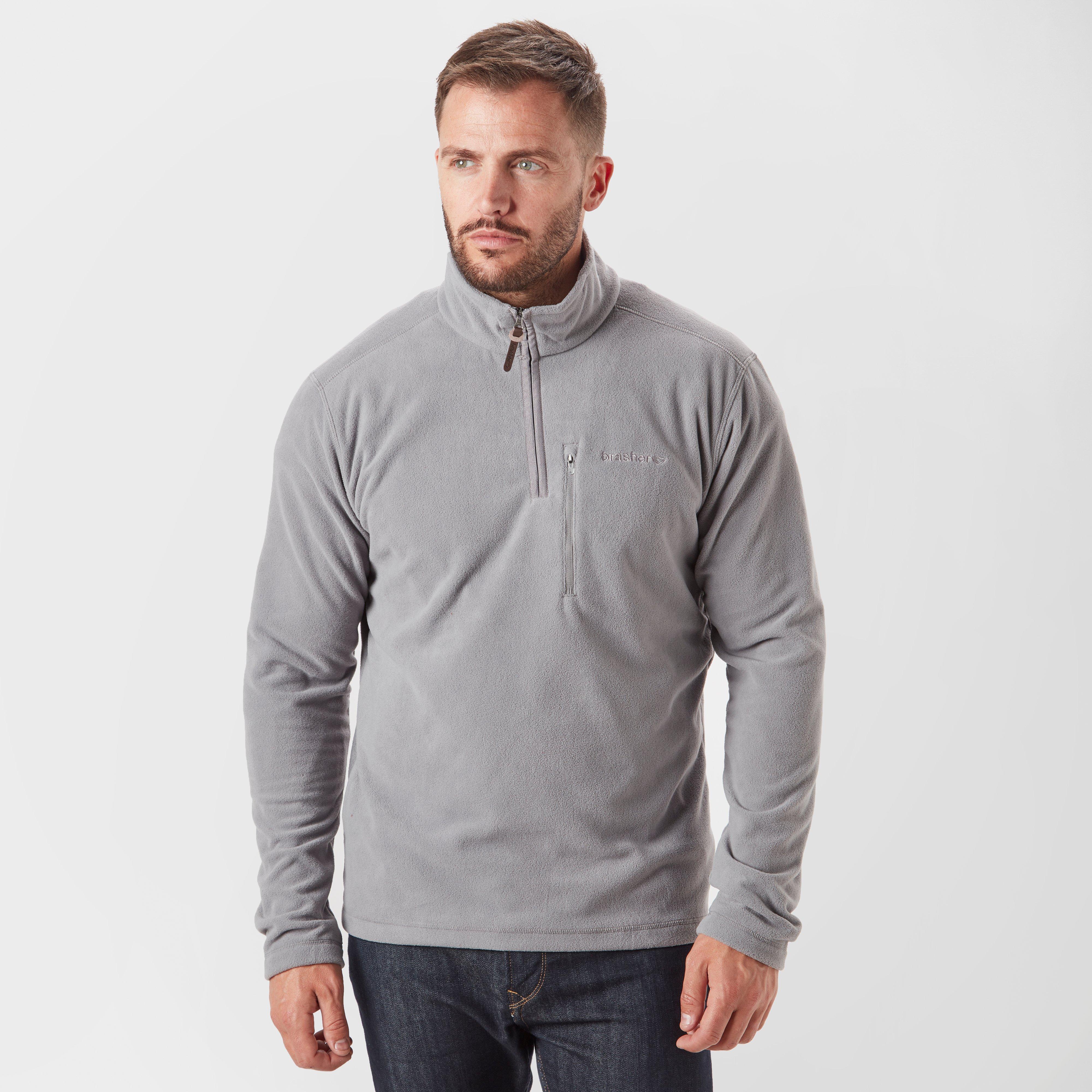 Brasher Mens Bleaberry Half-zip Fleece - Grey/mgy  Grey/mgy