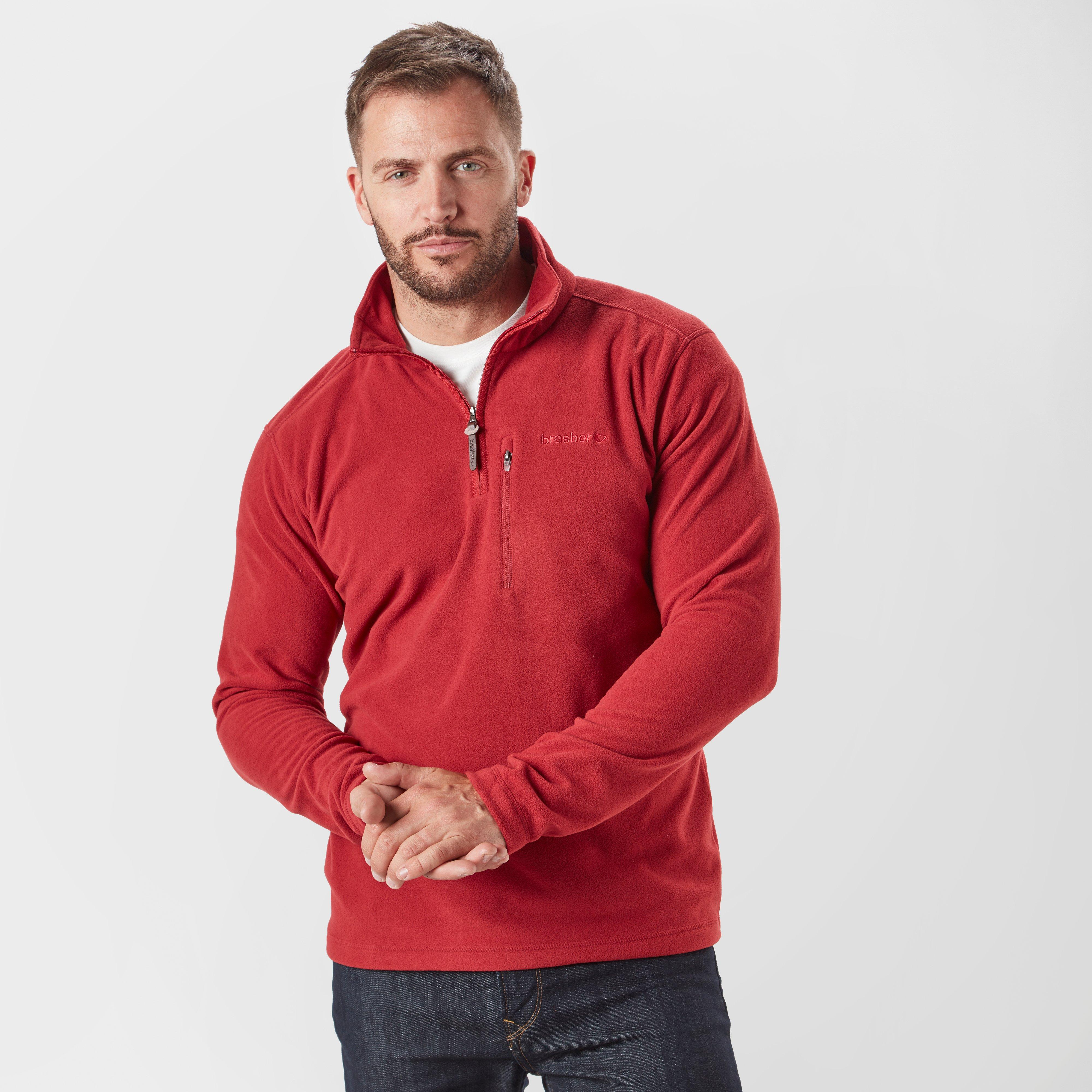 Brasher Mens Bleaberry Half-zip Fleece - Red/red  Red/red