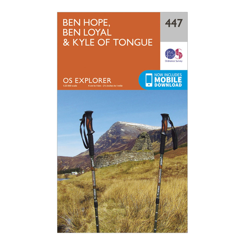 Ordnance Survey Explorer 447 Ben Hope  Ben LoyalandKyle Of Tongue Map With Digital Version - Orange/d  Orange/d