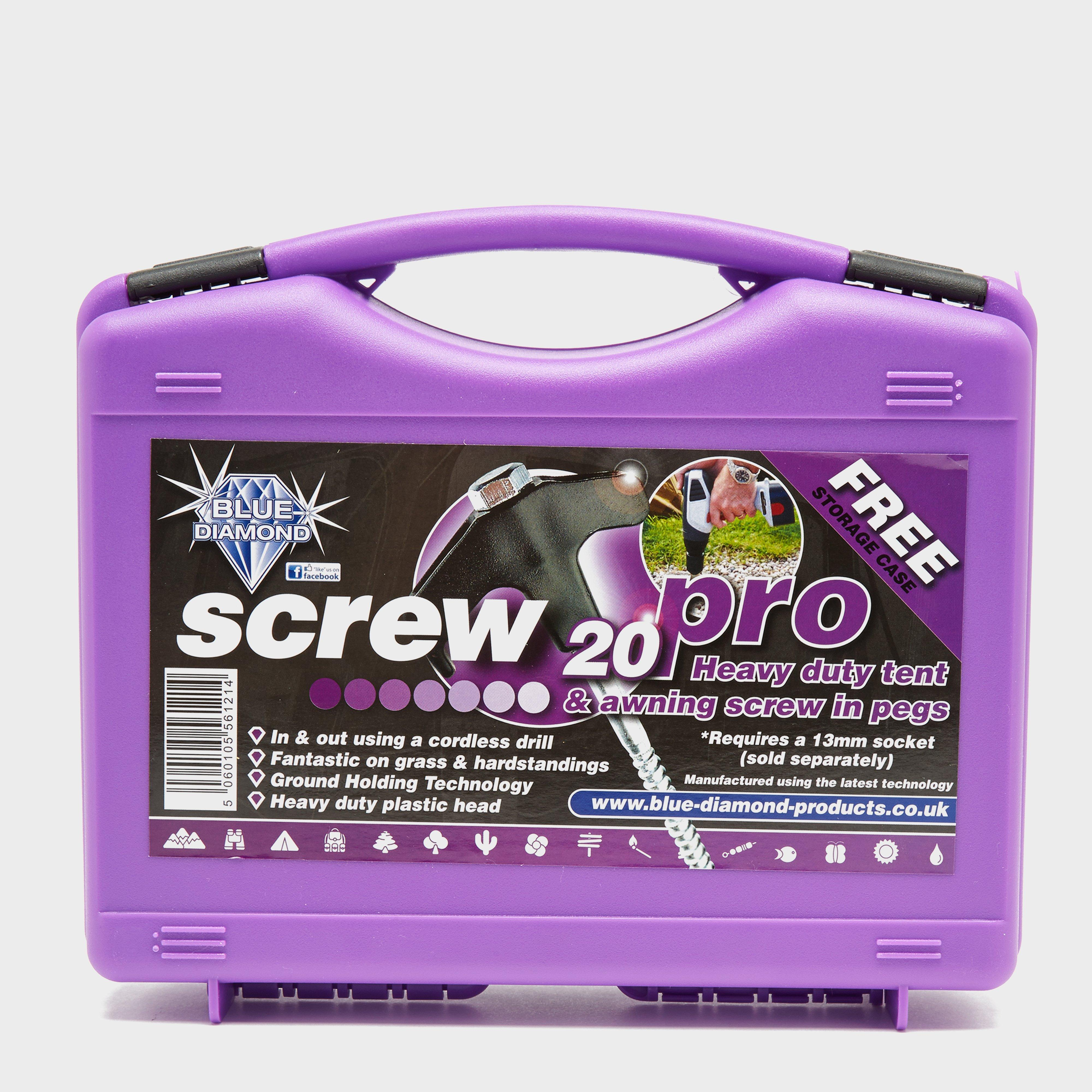 Blue Diamond Screw Tent Pegs - 20 Pack - Purple  Purple