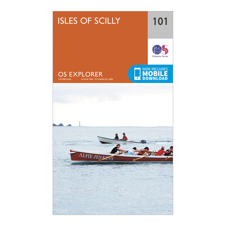 Ordnance Survey Explorer 101 Isles of Scilly Map With Digital Version, Orange/D