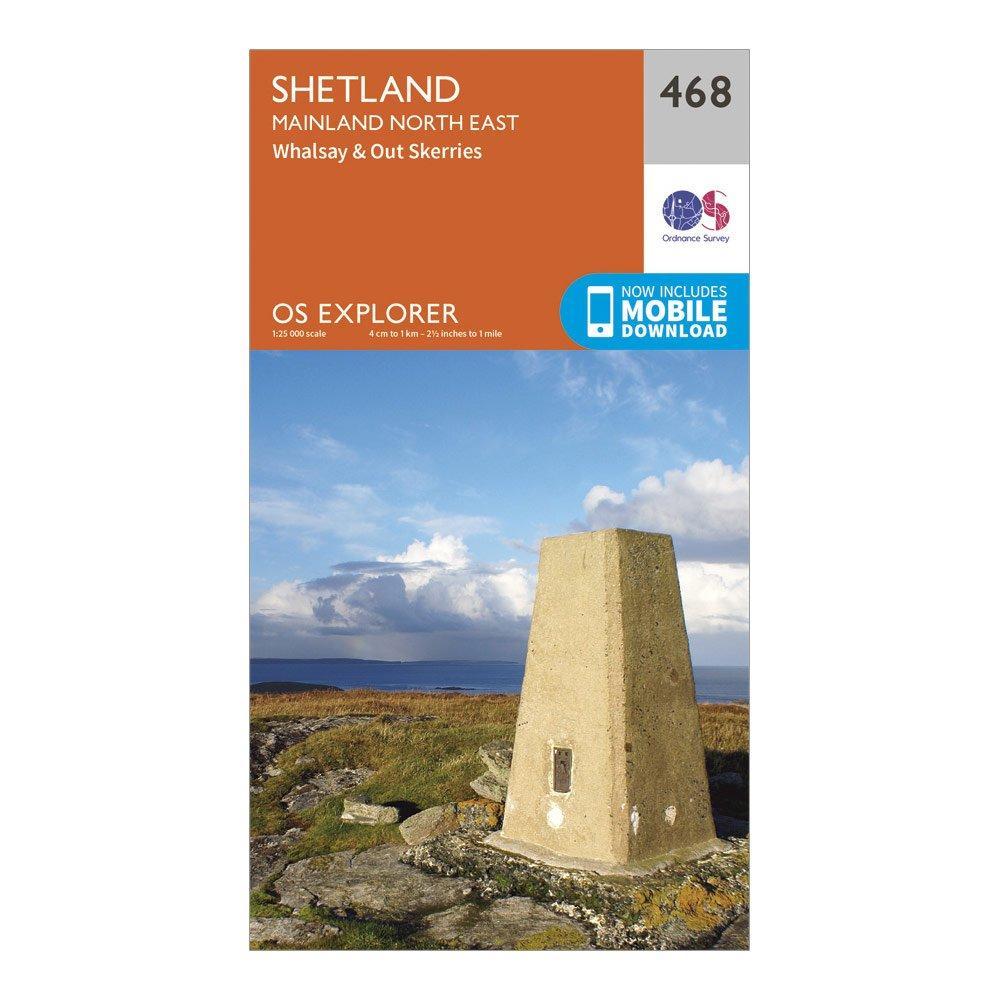 Ordnance Survey Explorer 468 Shetland   Mainland North East Map With Digital Version - Orange/d  Orange/d