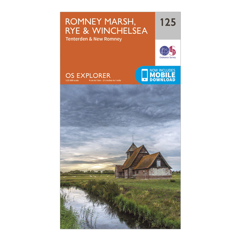 Ordnance Survey Explorer 125 Romney Marsh, Rye & Winchelsea Map With Digital Version, Orange/D