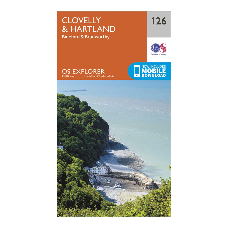 Ordnance Survey Explorer 126 Clovelly & Hartland Map With Digital Version, Orange/D