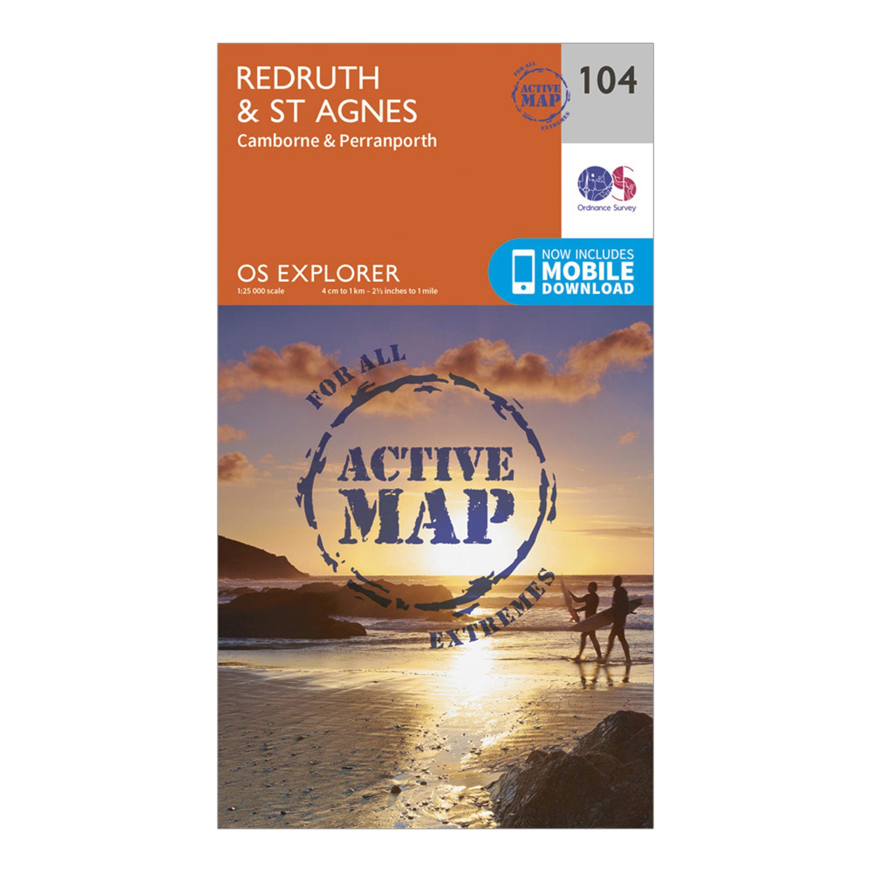 Ordnance Survey Explorer Active 104 RedruthandSt Agnes Map With Digital Version - Orange/d  Orange/d