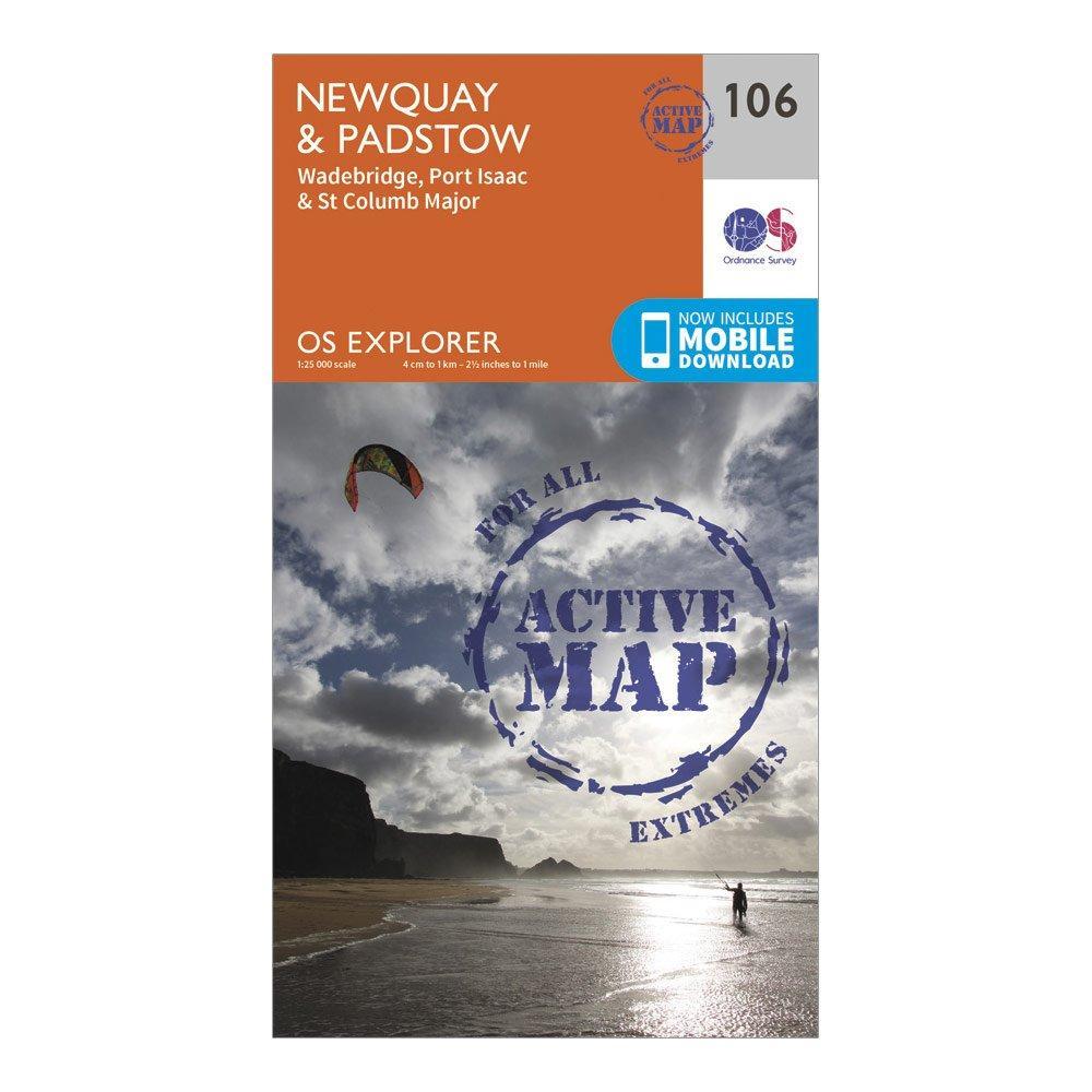 Ordnance Survey Explorer Active 106 NewquayandPadstow Map With Digital Version - Orange/d  Orange/d