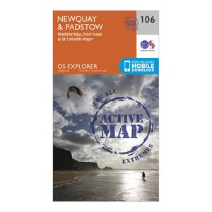 ORDNANCE SURVEY Explorer Active 106 Newquay & Padstow Map With Digital Version