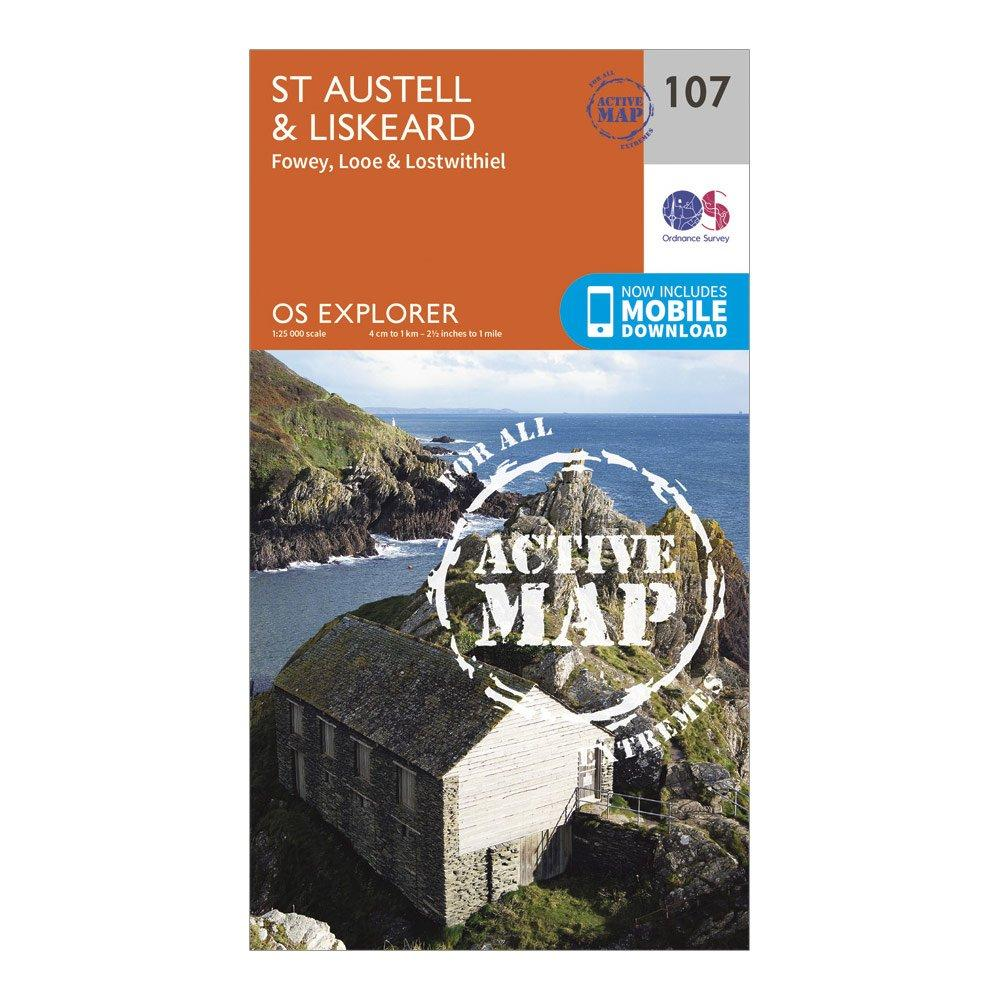 Ordnance Survey Explorer Active 107 St AustellandLiskeard Map With Digital Version - Orange/d  Orange/d