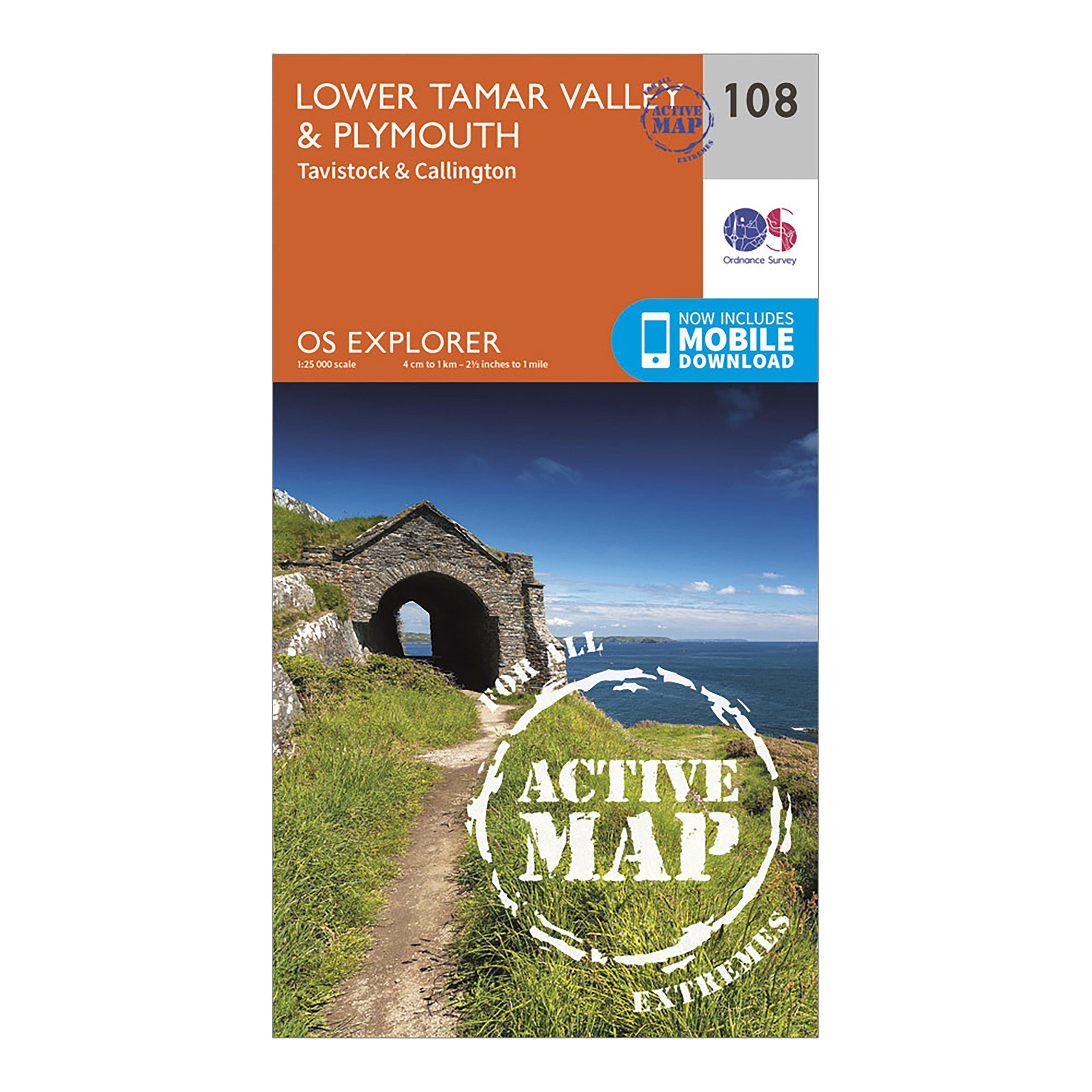 Ordnance Survey Explorer Active 108 Lower Tamar ValleyandPlymouth Map With Digital Version - Orange/d  Orange/d