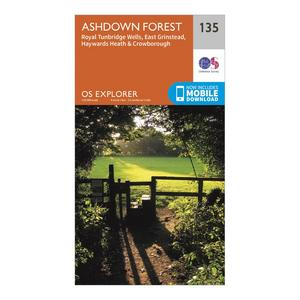 ORDNANCE SURVEY Explorer 135 Ashdown Forest Map With Digital Version