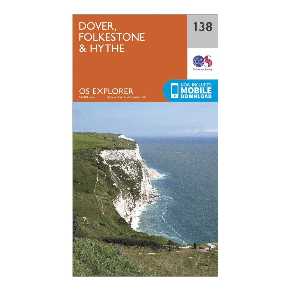 Ordnance Survey Explorer 138 Dover, Folkestone & Hythe Map With Digital Version, Orange/D