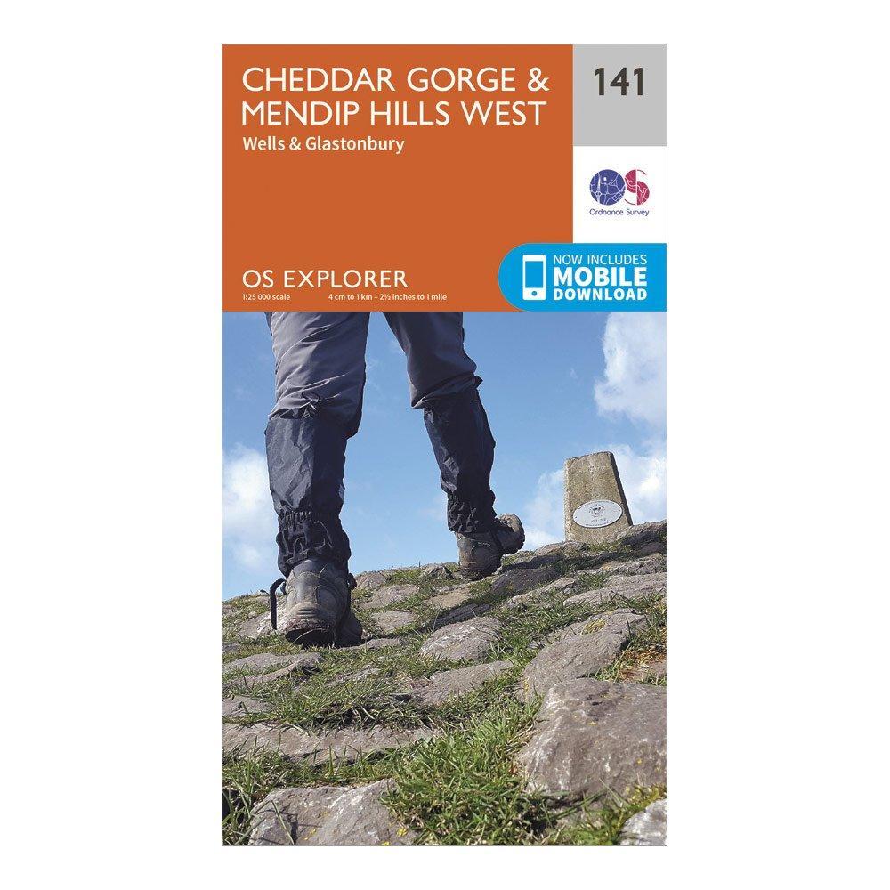 Ordnance Survey Explorer 141 Cheddar Gorge & Mendip Hills West Map With Digital Version, Orange/D