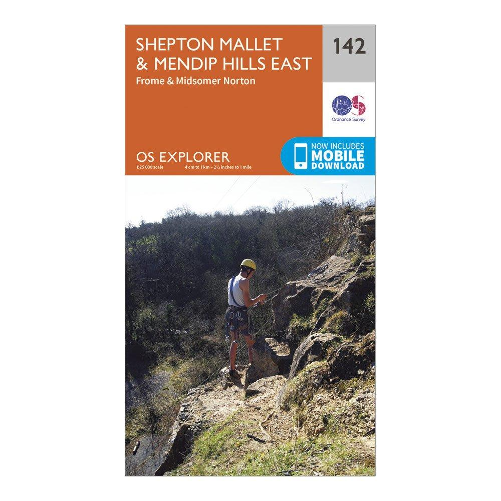 Ordnance Survey Explorer 142 Shepton MalletandMendip Hills East Map With Digital Version - Orange/d  Orange/d
